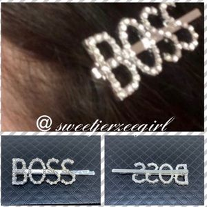BOSS Spellout Trendy Fashion Sparkling Hairpin